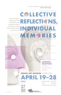 """A medical diagram with the world """"Collective reflections, individual memories"""" written over it."""